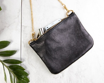 Black Leather Pouch, Small Leather Clutch, Leather Wallet, Black Evening Clutch, Natural Full Grain Leather, Unique Only One Copy