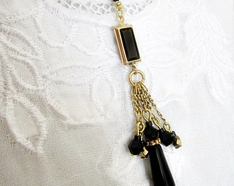 Tassel Necklace, Black Crystal Necklace, Crystal Jewelry, Black Swarovski Crystal Necklace, Downton Abby, Teardrop Pendant, Tassel Jewelry