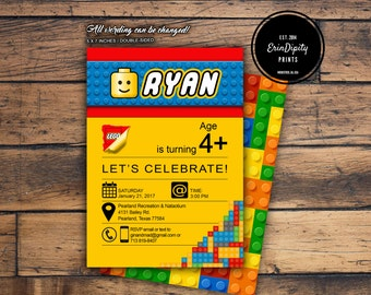 Lego Invitation (Digital File or Prints with Envelopes) (FREE Shipping) (ALL Wording can be changed)
