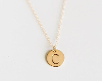11mm Circle/ Initial Charm Necklace