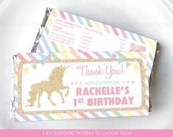 Unicorn Chocolate Wrapper, Pink Gold, Glitter Effect, Polka, Custom, Personalised, Birthday Party, Hershey, Aldi, Printable Pastel Rainbow