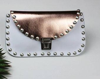 White Leather and Rose Gold Clutch with Rivets/Metallic  Evening Clutch/Rose Gold Leather Clutch/White Clutch Purse – ClutchEL10