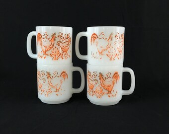Milk Glass Mugs | Set of Four | White Mugs with Orange Rooster Scene | by Glasbake | 8 ounces