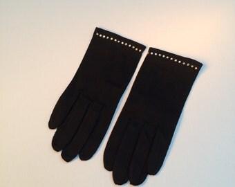 Evening Gloves, Black Cotton Rhinestones Gloves, Wrist Length Gloves, Vintage New Gloves, Style No. 1640