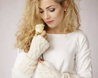 Long fingerless Gloves - Winter Wedding White baby alpaca gloves - Cable Knit Women winter accessories natural white