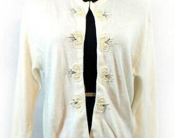 50s Beaded Cardigan, Vintage Ivory Embellished Lady Park-Storyk Sweater Size M Medium