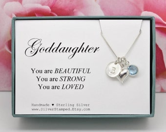 Gift for Goddaughter gift Necklace, Sterling Silver Personalized Initial Swarovski Birthstone necklace, You are beautiful, silver heart