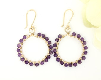 Amethyst earrings Gold filled wire wrapped purple gemstone earrings, 1 inch boho hoop earrings, gold hoops February birthstone birthday gift