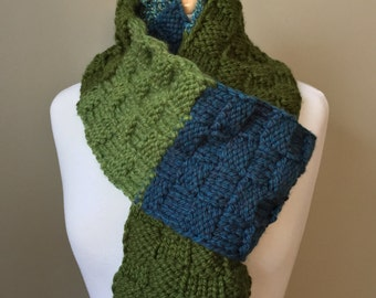 Patchwork scarf, green and blue