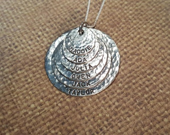 All SOLID STERLING silver .925-Mother-Grandmother-Aunt necklace with 6 names...hand stamped