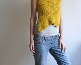 knit yellow vest