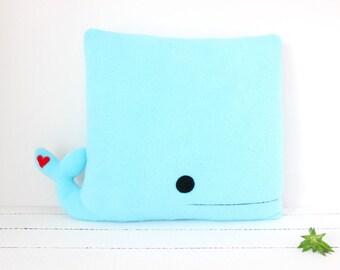 Whale Accent Cushion, (Blue), Whale Pillow, Whale Cushion, Fleece Whale, Sea Home Decor, Sea Animal Plush, Whale Plush, Blue Whale Plush