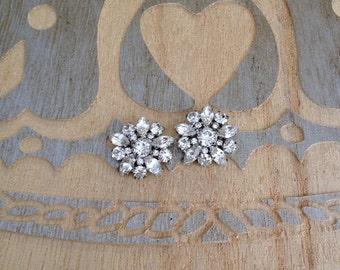 Crystal rhinestone cluster earrings, post back, something old bridal jewelry, rustic wedding, bridesmaid gift, vintage, repurposed vintage