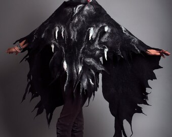 Raven shawl / wings / Halloween / silk scarf /Nuno felting  / Handmade felted scarf / Merino wool / Wool Scarf / Black, Gray/ Free shipping.