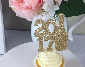2017 Cupcake Toppers | Cupcake Toppers | Champagne Toppers | Champagne Cupcake Toppers | Graduation Decor | Class of 2017 | 2017 Toppers