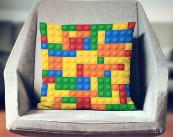 Lego Pillow |  Lego Throw Pillow | Lego Gift | Cool Teen Gifts | Cool Gifts | Lego Decor | Boys Room Decor |Lego Present | Lego Bricks