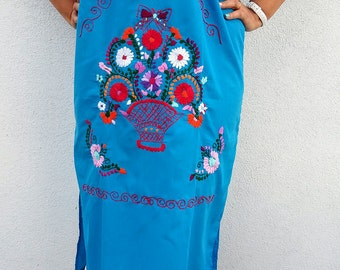 Embroidery mexican Dress, Mexican embroidered dress, Mexican boho dress, Mexican ethnic dress, mexican clothing, mexican hippie beach dress