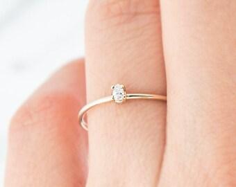 Pear Cut Diamond Ring, Unique Engagement Ring, Solitaire Ring, Diamond Ring, Stacking ring, solid gold ring, Birthstone ring