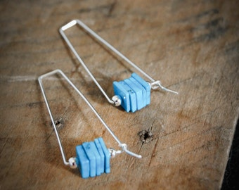 Natural Turquoise Earrings, Silver and Turquoise Earrings, Turquoise Stone Earrings, Modern Turquoise Earrings, Blue Stone Earrings, USA