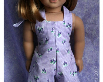 18 Inch Doll Clothes Handmade Purple Floral Halteralls