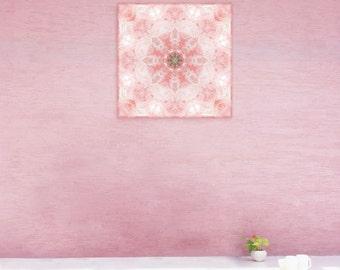 Purity mandala print on canvas ~ Rose Quartz Crystal mandala visionary art ~ Bedroom and nursery wall art ~ Feng Shui Love decor