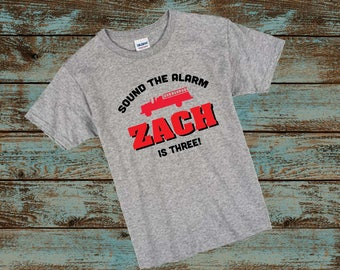 Firetruck Birthday T-Shirt Boy - Fireman Shirt - Sound The Alarm - Custom Birthday Shirt