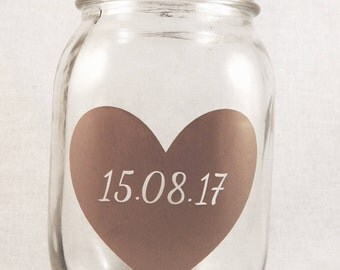 Personalised Heart with Date or Initials Wedding/Anniversary Mason Jar