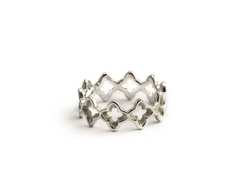 Ring moucharabieh Oriental ring, vegetable, geometric ring, stackable ring silver sterling