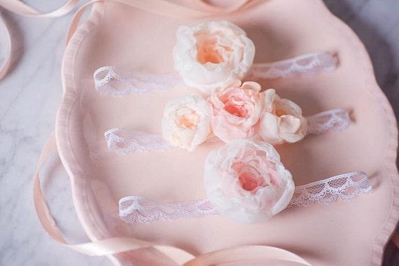 Fabric Flower Baby Headband Set of 3, Lace Newborn Photo Prop, Flowergirl Hairpiece, Baby Hairbow, Baby crown, Newborn Baby Floral Crown