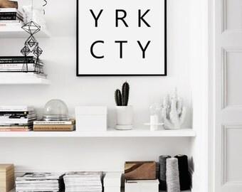 New York Typography Print, New York City Typography, NYC, New York Print, Black and White NYC