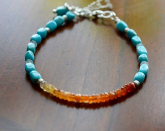 Mexican Fire Opals and Nacozari Turquoise Bracelet~ High End Stones and Energy Jewelry