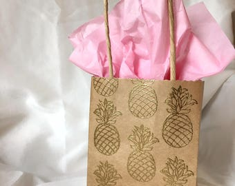 Embossed Mini Gift Bag - Pineapple, Cactus, Flamingo - Kraft Gift Bag with Handles - Party Favors - Bachelorette - Birthday - Summer Style