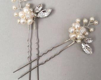 OPHELIA | Bridal pearl and crystal hair pin, Wedding hair pin accessory, Bridal floral inspired headpiece