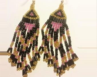 Black, Pink & Gold Triangle motif earrings