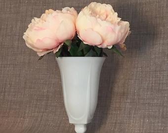 """Vintage Art Deco 8"""" Milk Glass Vase - Wedding Bouquet, Centerpiece, Shower"""