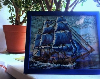 Ship of your dreams - Handmade picture embroidered with beads, Framed picture, Beadwork, Embroidered picture, Homedecor, Crosstich christmas