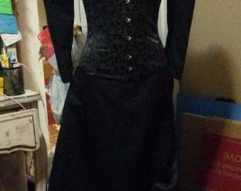 Edwardian black Victorian lace satin skirt shrug & cameo corset mourning Steampunk goth