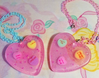 Valentine's Day necklace, Conversation hearts resin jewelry chunky glitter statement necklace miss alphabet