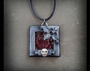 Skull Necklace Renaissance Pirate Jewelry Polymer Clay Jewellery Gothic Jewelry Medieval Fashion Ren Faire Mens Gift Stained Glass Viking