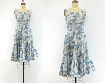 Blue Floral Dress 70s Vintage Dress Boho Pinafore Dress 70s Midi Dress Fit and Flare Dress 70s Ruffle Dress Vintage Tank Dress Pockets s, m