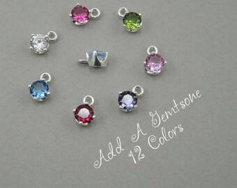 Add A Charm Birthstone - Sterling Silver Gemstone Jewelry, Gemstone Necklace, Birthstone Charms Jewelry, Birthday Necklace, Crystal