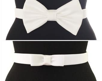Smooth Cotton Bow Belts | 7 COLORS | 2 STYLES | Red Belt | Black Belt | Blue Belt | Bow Belt | Designer Belt | Pin Up | Vintage | White Belt