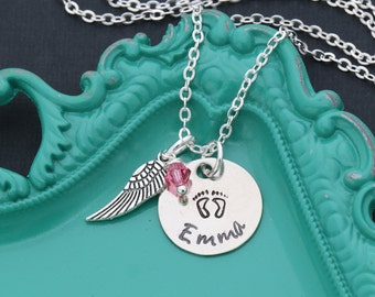 SALE • Miscarriage Necklace • Miscarriage Gift • Infant Loss • Baby Necklace • Baby Footprints Necklace • Personalized Name • Angel