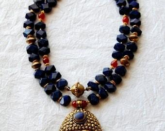 ZL03172  Big Buddha Blue Buddha Head Pendant Lapis & Carnelian Beads Double Strand Statement Necklace