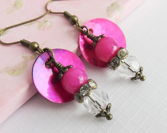 Fuschia earrings, bohemian dangle earrings, fuschia jewelry, rustic bronze, boho chic style, gift for her, colorful jewelry