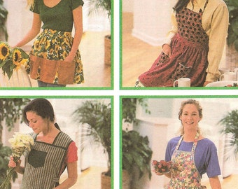 Easy Aprons Smock Bib Waist Tie Sizes Sm Med Lg Uncut Sewing Pattern