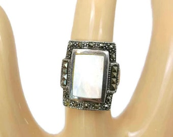 Sterling Marcasite Ring of Mother of Pearl Ring MOP Antique Ring Sterling Silver Size 6 Vintage Jewelry Gifts For Her Gifts For Women