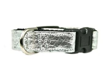 "Silver Bling Vegan Leather 5/8"", 3/4"", 1"" or 1.5"" Black Dog Collar"