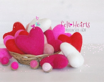 Wool Felt Hearts - Wool Felt Hearts - 6cm- Wet Felted Hearts - Valentine's Felted Hearts - Medium Felt Hearts - Choose a Color