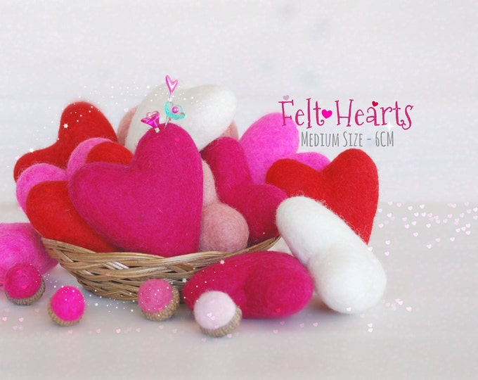 Featured listing image: Wool Felt Hearts - Wool Felt Hearts - 6cm- Wet Felted Hearts - Valentine's Felted Hearts - Medium Felt Hearts - Choose a Color